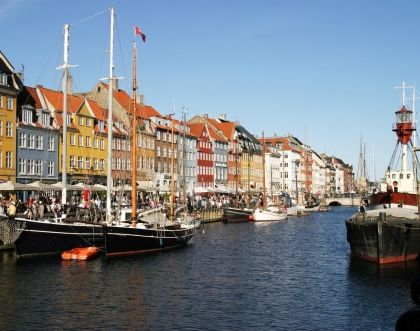 A colourful alley of Copenhagen - architecture and colours of Nyhavn port streets