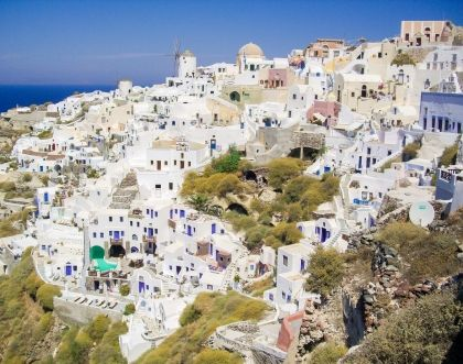 The great Greek holiday - white-blue Cyclades in the sunlight